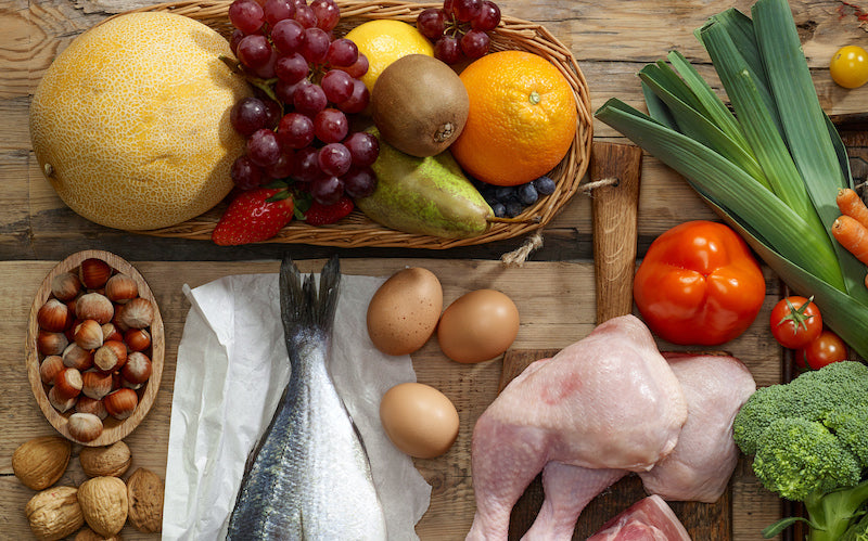 Aerial view of foods that are paleo friendly