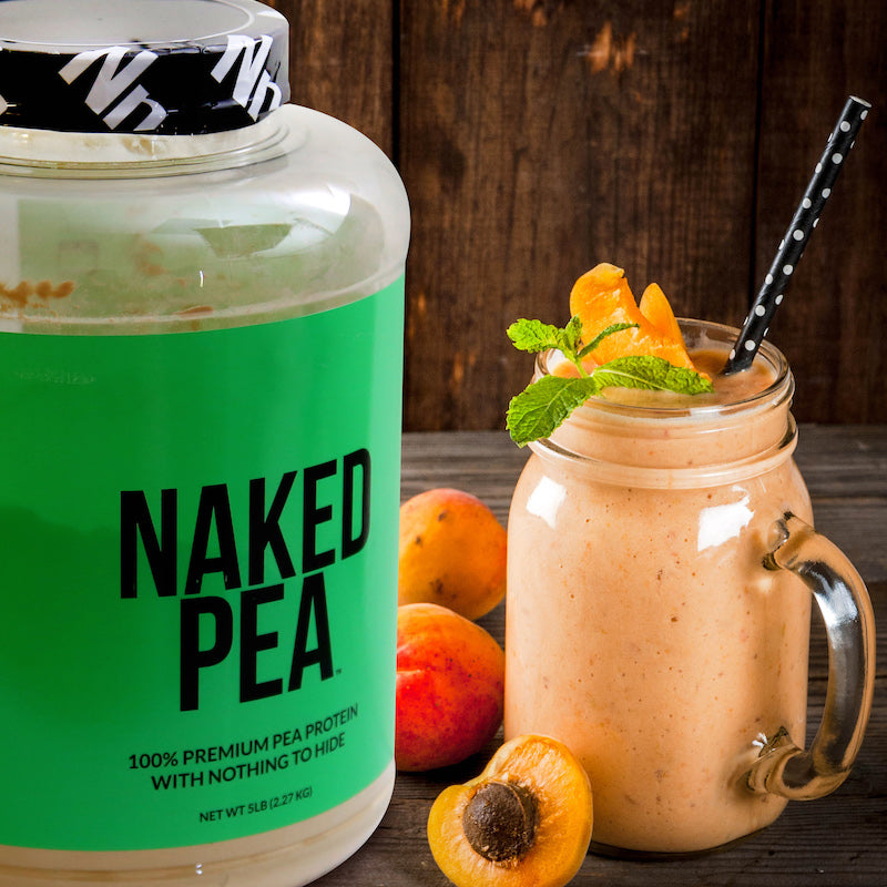 Naked Pea product next to a fruit protein shake