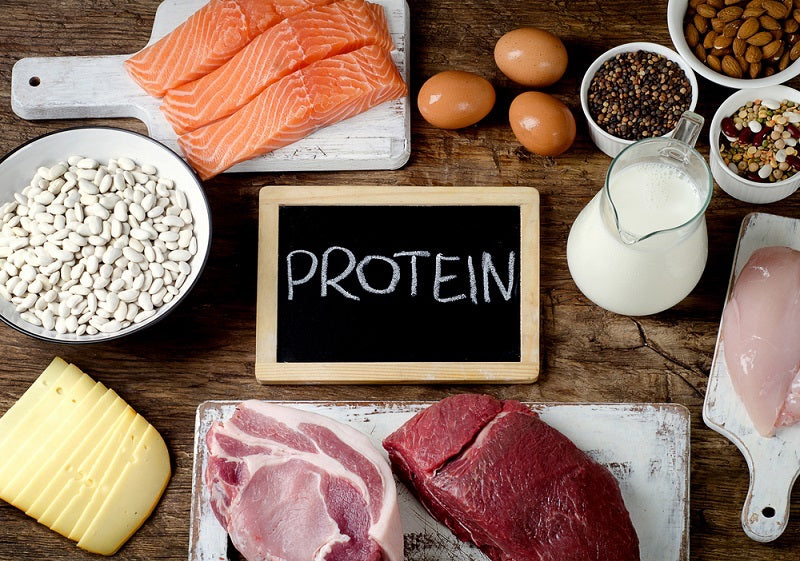 Aerial view of a chalkboard saying 'protein' surrounded by protein rich foods