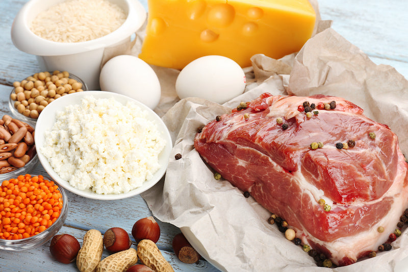 Protein rich foods arranged on a table