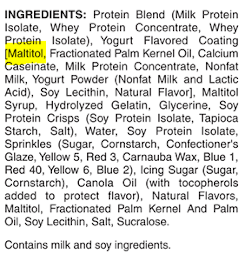 Pure Protein protein bar ingredients