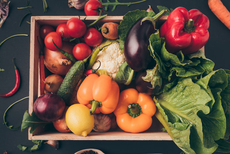 Image of a crate of vegetables