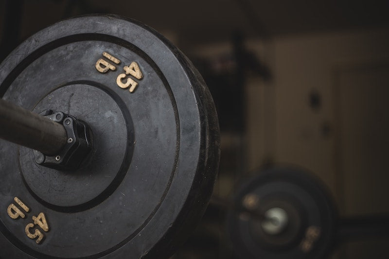 Close up of a weight on a barbell