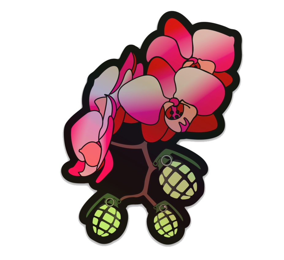 Orchid Bomber - Holographic Sticker