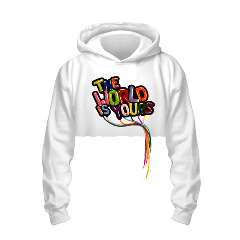 World Is Yours - Crop Hoodie (White)