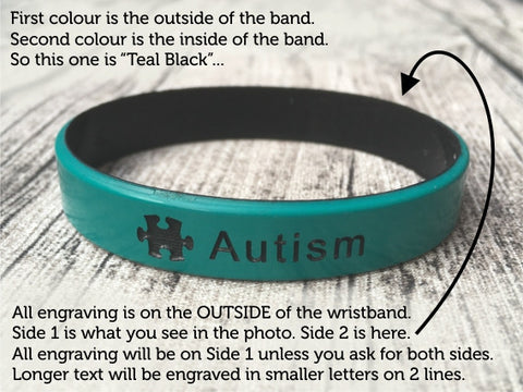 Autism Alert Wristbands Colour Engraving Info