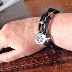 Black leather medical id bracelet stainless steeel charm