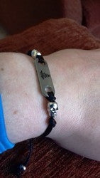 Black medical alert bracelet cord adjustable ladies