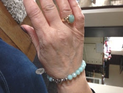 Blue Aqua Beads Medical Alert Bracelet - Steroid User ICE Emergency Phone