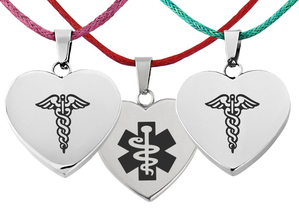 Cherish Ladies Medical ID Necklace Heart Charm Pink Turquoise Red