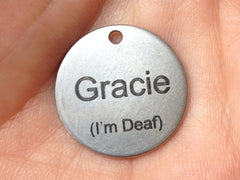 Gracie's personalised ID tag - deaf ICE phone numbers