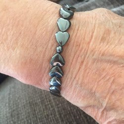 Hematite hearts medical alert bracelet grey gray