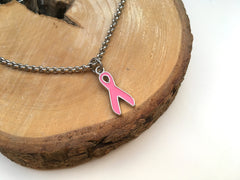 Ladies Breast Cancer Pink Ribbon Charm Bracelet