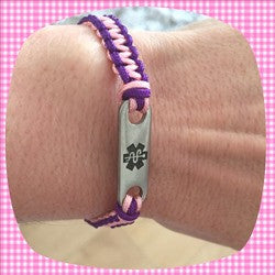 Ladies Medical Alert Bracelet Epilepsy Good Looking Pink Purple