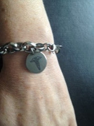 Ladies medical alert bracelet osteoporosis charm
