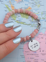 Longitude Latitude Bracelet - Inspired by Pantone Colours of the Year 2016 Rose Quartz Serenity