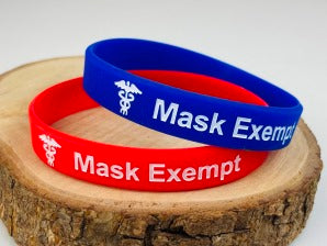 Mask Exempt Wristband Set Red Blue Adult