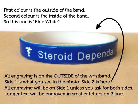 Medical Alert Wristbands Colour Engraving Info