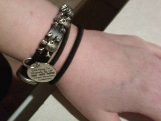 Medical alert bracelet lung transplant black leather skulls