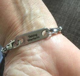 Medical alert bracelet taking warfarin