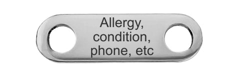 Custom medical text for back of bracelet - long tag