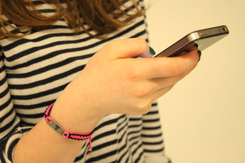 Neon Pink Black medical ID bracelet alert mobile iphone text