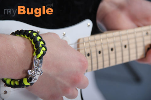 Neon Yellow Black paracord medical ID alert bracelet electric guitar