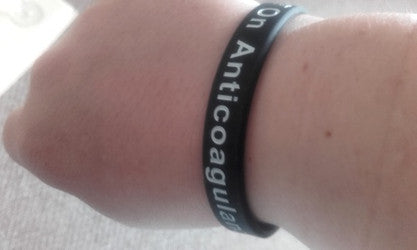 On Anticoagulant Wristband Black White Medical ID Band