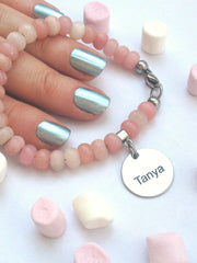 Pantone colour of the year Rose Quartz Serenity Bracelet Name Personalised