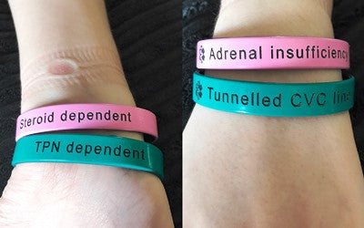 Pink Teal Silicone Medical Alert Band Tunnelled CVC Line