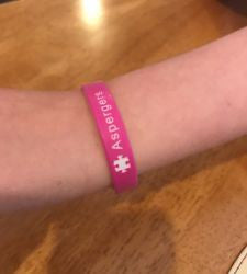 Pink White Aspergers Wristband Puzzle Piece