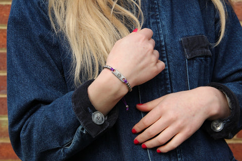 Purple friendship beads cord medical alert bracelet denim