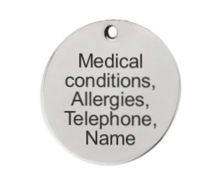 custom medical text engraving - round disc