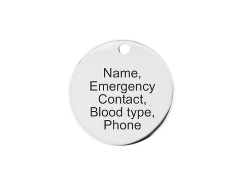 Stainless Steel Tag Charm - id identification name ice phone mobile blood type