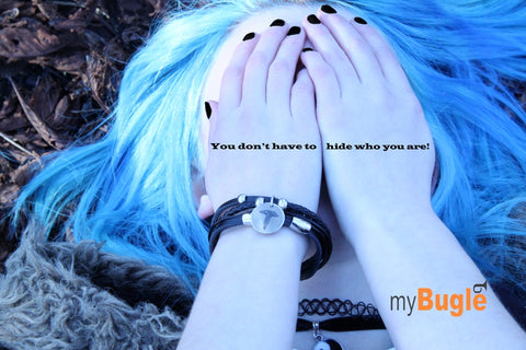 Don't hide who you are black leather medical alert bracelet teens
