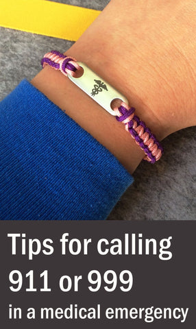 Tips for calling 999 in an Emergency - explain information on medical alert bracelet