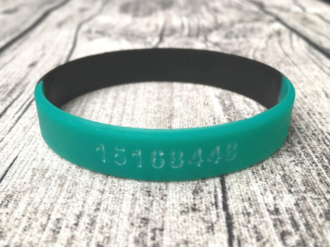 Personalised wristband two colour teal black