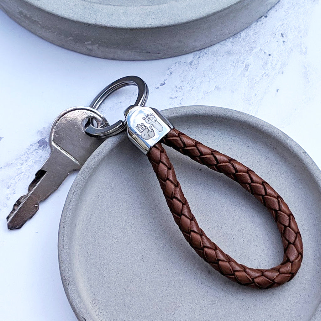 MENS HANDPRINT & FOOTPRINT LEATHER LOOP KEYRING
