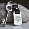 PERSONALISED DADS CABS LEATHER & STEEL KEYRING