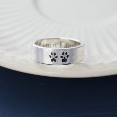 personalised pet paw print silver ring