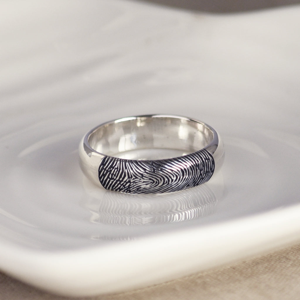 FINGERPRINT RING - D PROFILE - WIDE