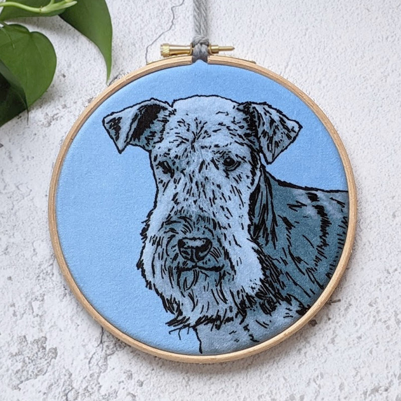 VELVET PERSONALISED PET PORTRAIT HOOP FRAMED PRINT