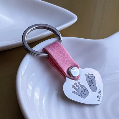 Handprint Footprint Heart Keyring