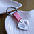 LEATHER & STEEL HAND & FOOTPRINT HEART KEYRING