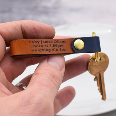 Birth Memento Persoanlised Leather Keyring