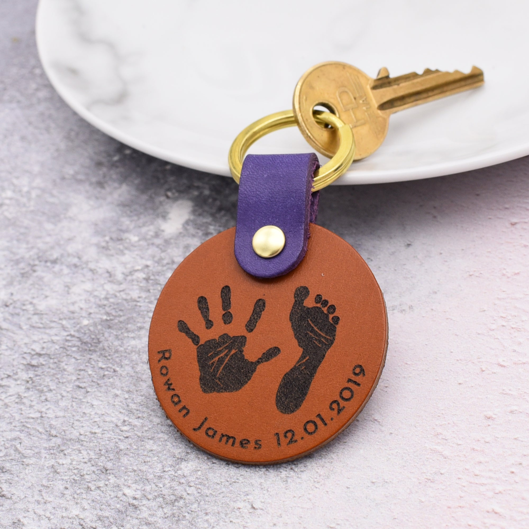 PERSONALISED HAND & FOOTPRINT LEATHER KEYRING