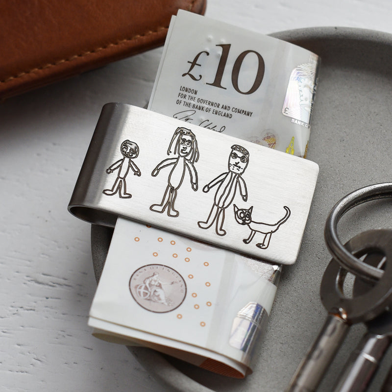 PERSONALISED DRAWING STEEL MONEY CLIP