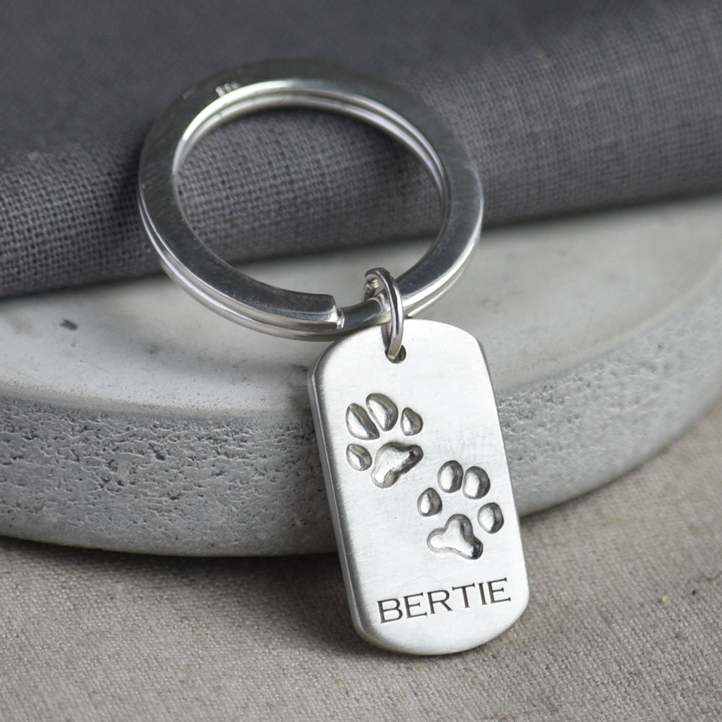 pets own paw print keyring silver