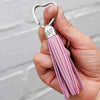 HAND & FOOTPRINT LEATHER TASSEL HEART KEYRING