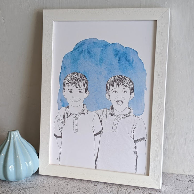 personalised colour wash portrait